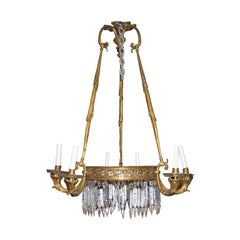 Antique French Empire Style Bronze Chandelier