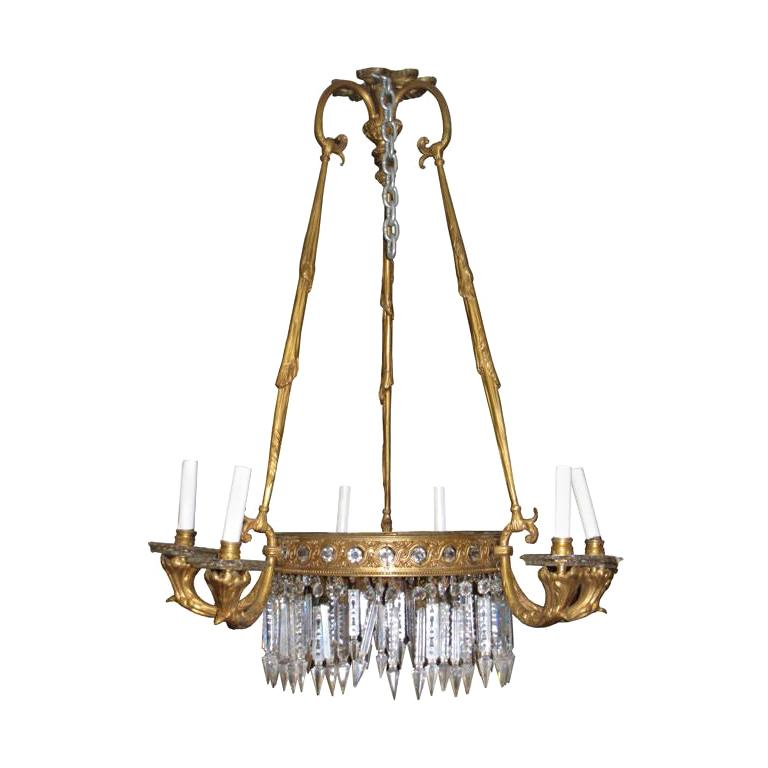 Antique French Empire Style Bronze Chandelier For Sale
