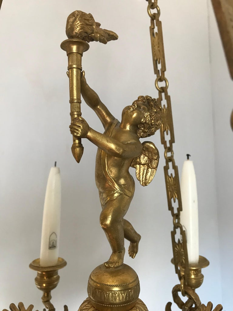 Antique French Empire Style Gilt Bronze Candle Pendant or Chandelier with Cherub For Sale 10