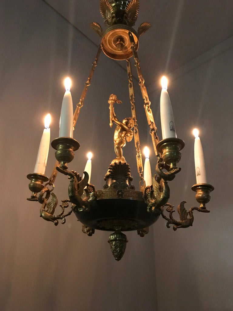 Antique French Empire Style Gilt Bronze Candle Pendant or Chandelier with Cherub In Excellent Condition For Sale In Lisse, NL