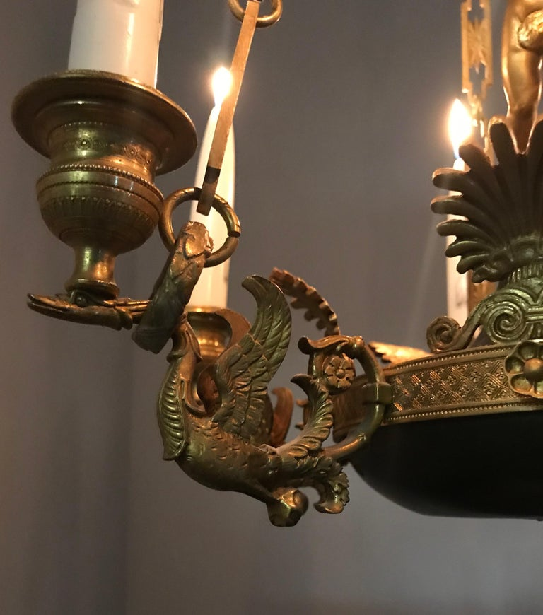 Mid-19th Century Antique French Empire Style Gilt Bronze Candle Pendant or Chandelier with Cherub For Sale