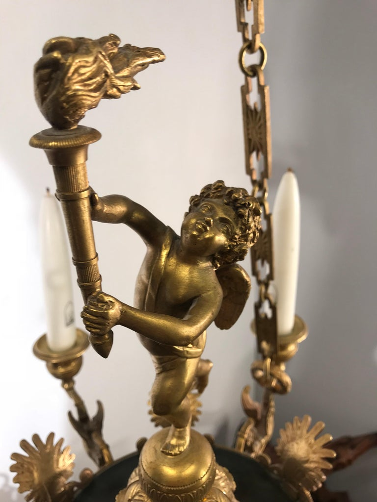 Antique French Empire Style Gilt Bronze Candle Pendant or Chandelier with Cherub For Sale 4
