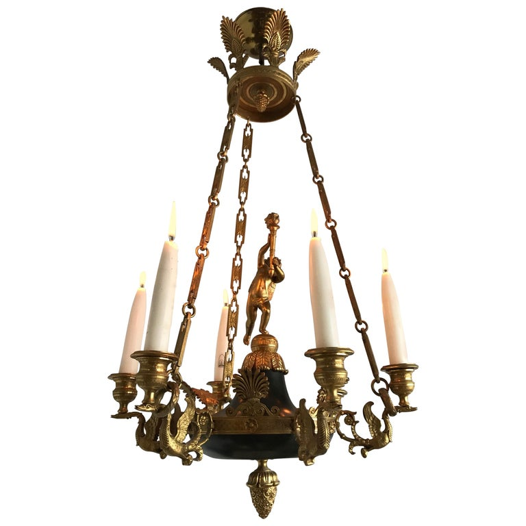 Antique French Empire Style Gilt Bronze Candle Pendant or Chandelier with Cherub For Sale
