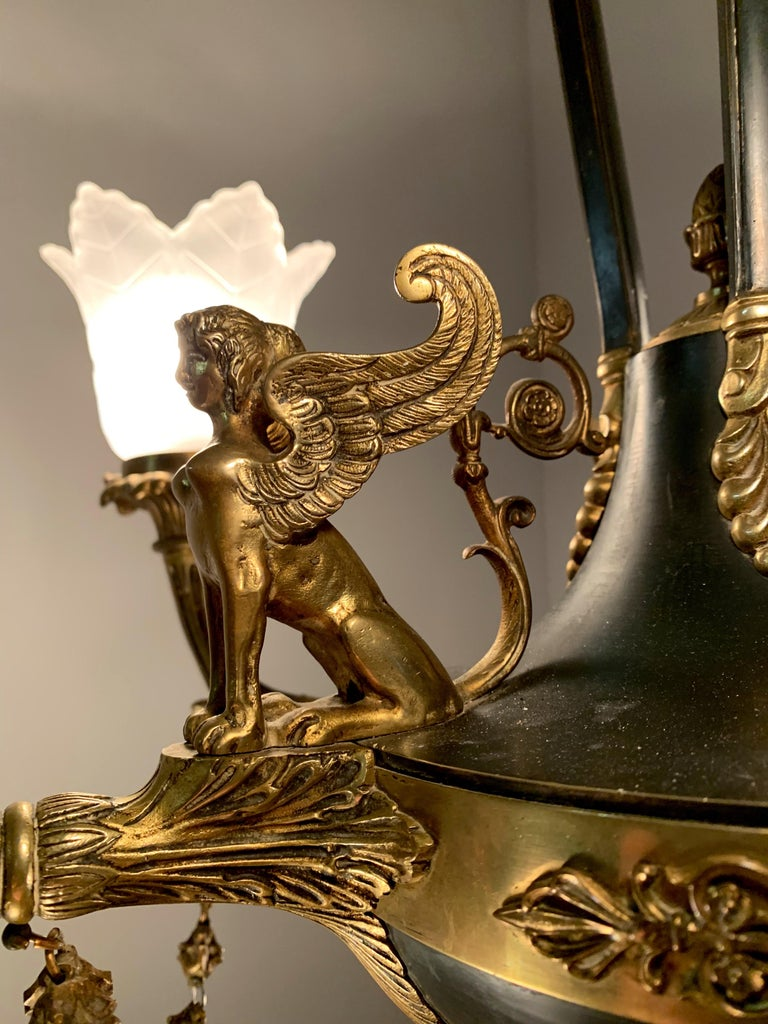 Antique French Empire Style Gilt Bronze Chandelier with Sphinx & Eagle Sculpture For Sale 4