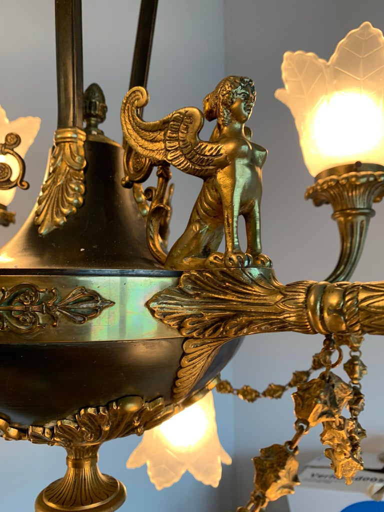 Antique French Empire Style Gilt Bronze Chandelier with Sphinx & Eagle Sculpture For Sale 6