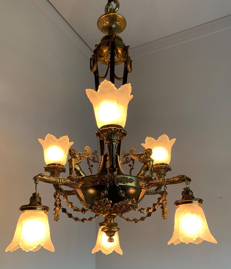 Antique French Empire Style Gilt Bronze Chandelier with Sphinx & Eagle Sculpture For Sale 7