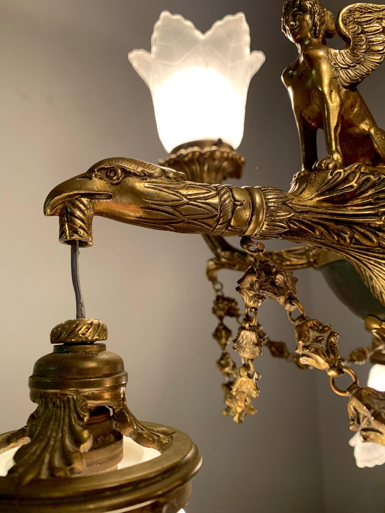 Antique French Empire Style Gilt Bronze Chandelier with Sphinx & Eagle Sculpture For Sale 10