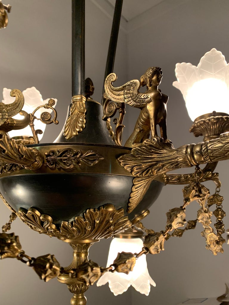 Antique French Empire Style Gilt Bronze Chandelier with Sphinx & Eagle Sculpture For Sale 11
