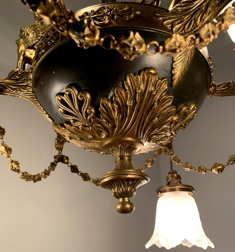 Antique French Empire Style Gilt Bronze Chandelier with Sphinx & Eagle Sculpture For Sale 12