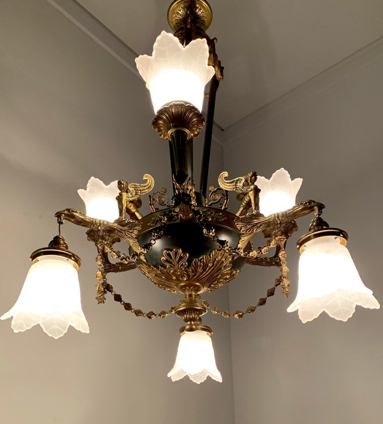 Antique French Empire Style Gilt Bronze Chandelier with Sphinx & Eagle Sculpture For Sale 13