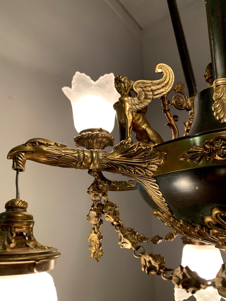 Antique French Empire Style Gilt Bronze Chandelier with Sphinx & Eagle Sculpture For Sale 14