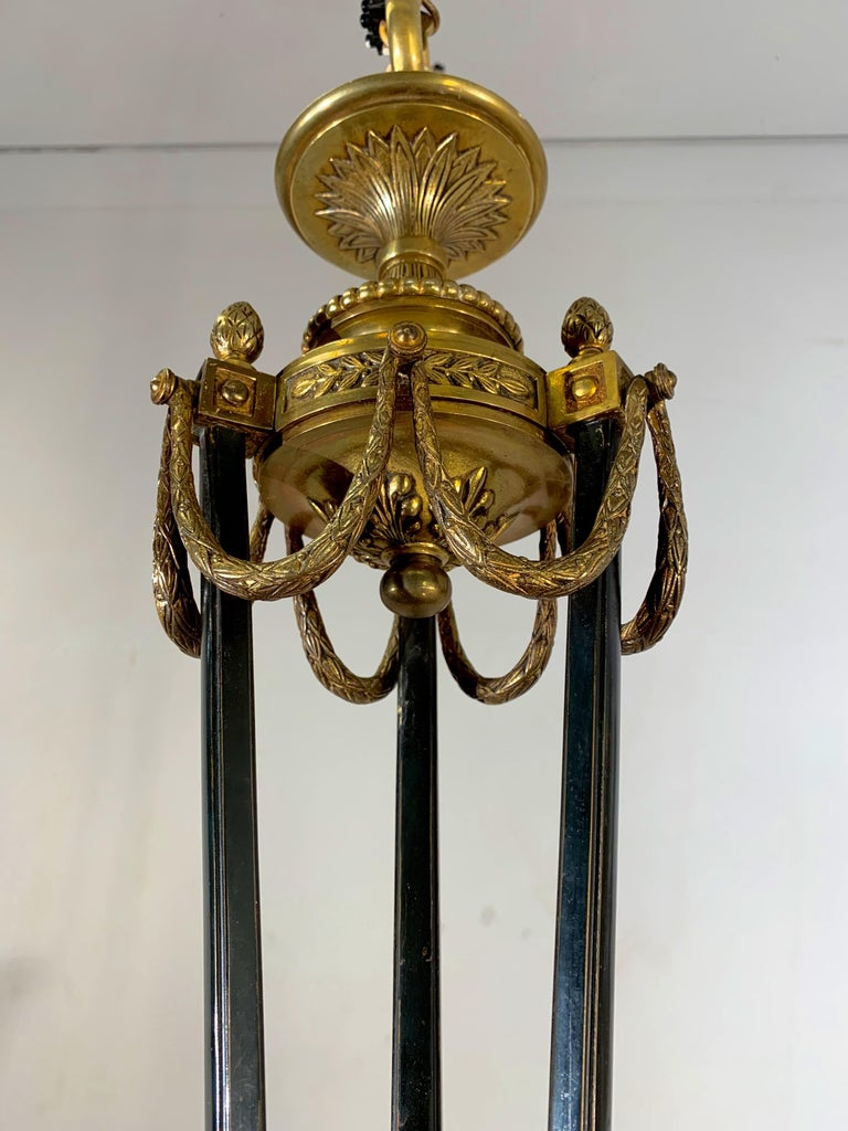 Empire Revival Antique French Empire Style Gilt Bronze Chandelier with Sphinx & Eagle Sculpture For Sale