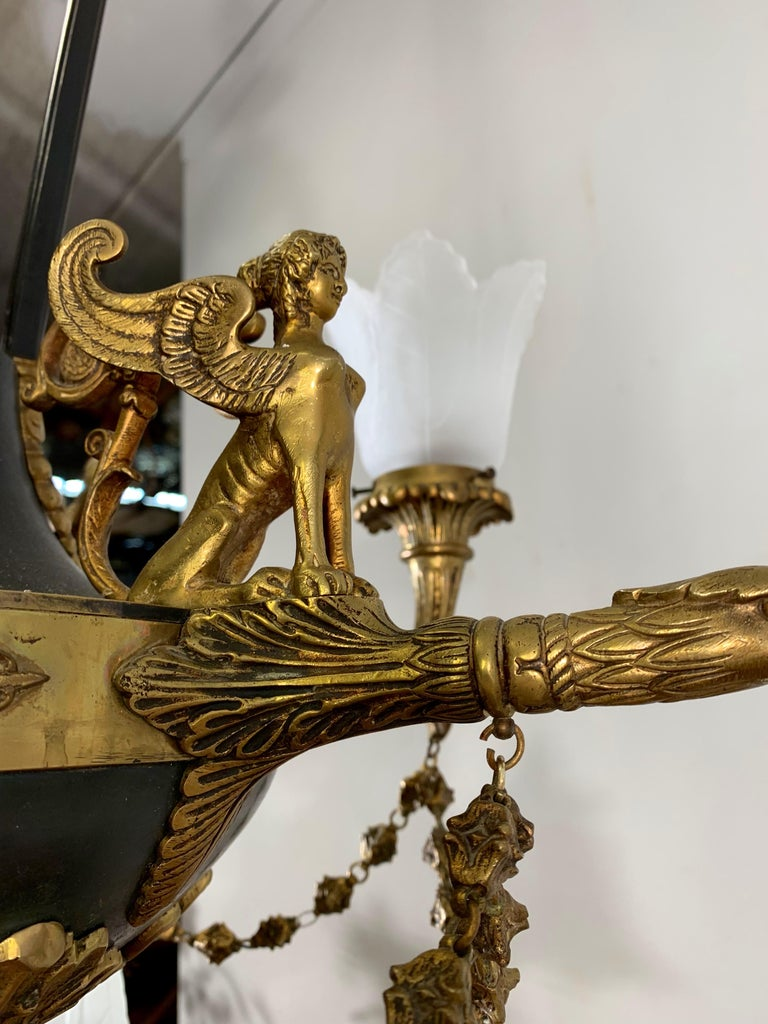 Metal Antique French Empire Style Gilt Bronze Chandelier with Sphinx & Eagle Sculpture For Sale