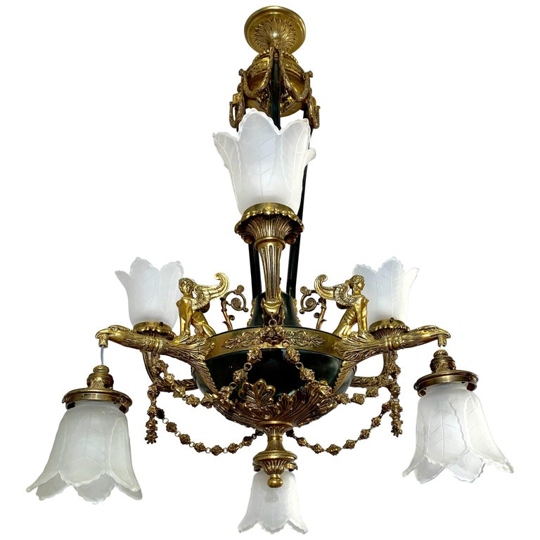Antique French Empire Style Gilt Bronze Chandelier with Sphinx & Eagle Sculpture For Sale