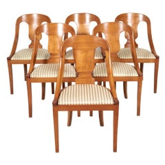 Antique French Empire Style Gondola Dining Chairs, Set of Six