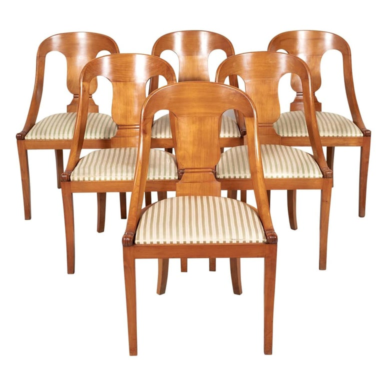 Antique French Empire Style Gondola Dining Chairs, Set of Six For Sale