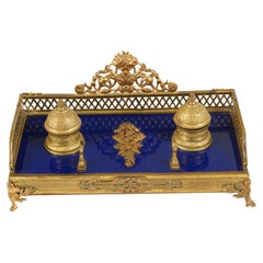 Antique French Empire Style Ink Stand, Desk Inkwell, France 1880, B2276y