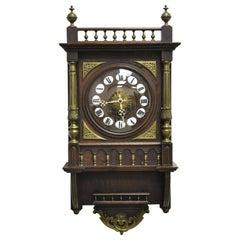 Antique French Empire Victorian Bronze Ormolu Walnut Vatican Wall Clock