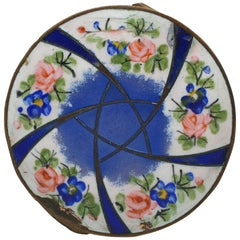 Antique French Enamel and Bronze Compact Powder Case Pill Box Mirror Star Roses