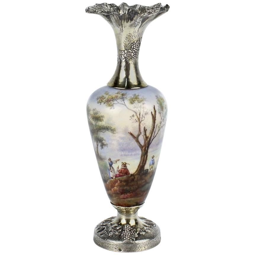 Antique French Enamel and Sterling Silver Miniature Cabinet Vase