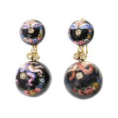 Antique French Enamel Diamond Ruby 18 Karat Gold Putti Earrings