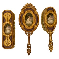 Antique French Enamel Ormolu Bronze Dresser Set with Portrait Miniatures