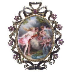 Antique French Enameled Gold Brooch