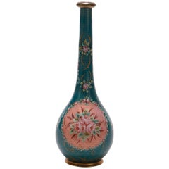 Antique French Enameled Guilloche Bronze Floral Vase, circa 1900