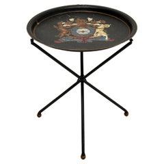 Antique French Enamelled Tole Folding Side Table