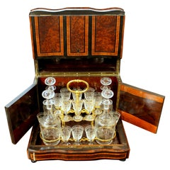 Antique French Engraved Crystal Cave a' Liqueur Tantalus Set in Amboyna Case