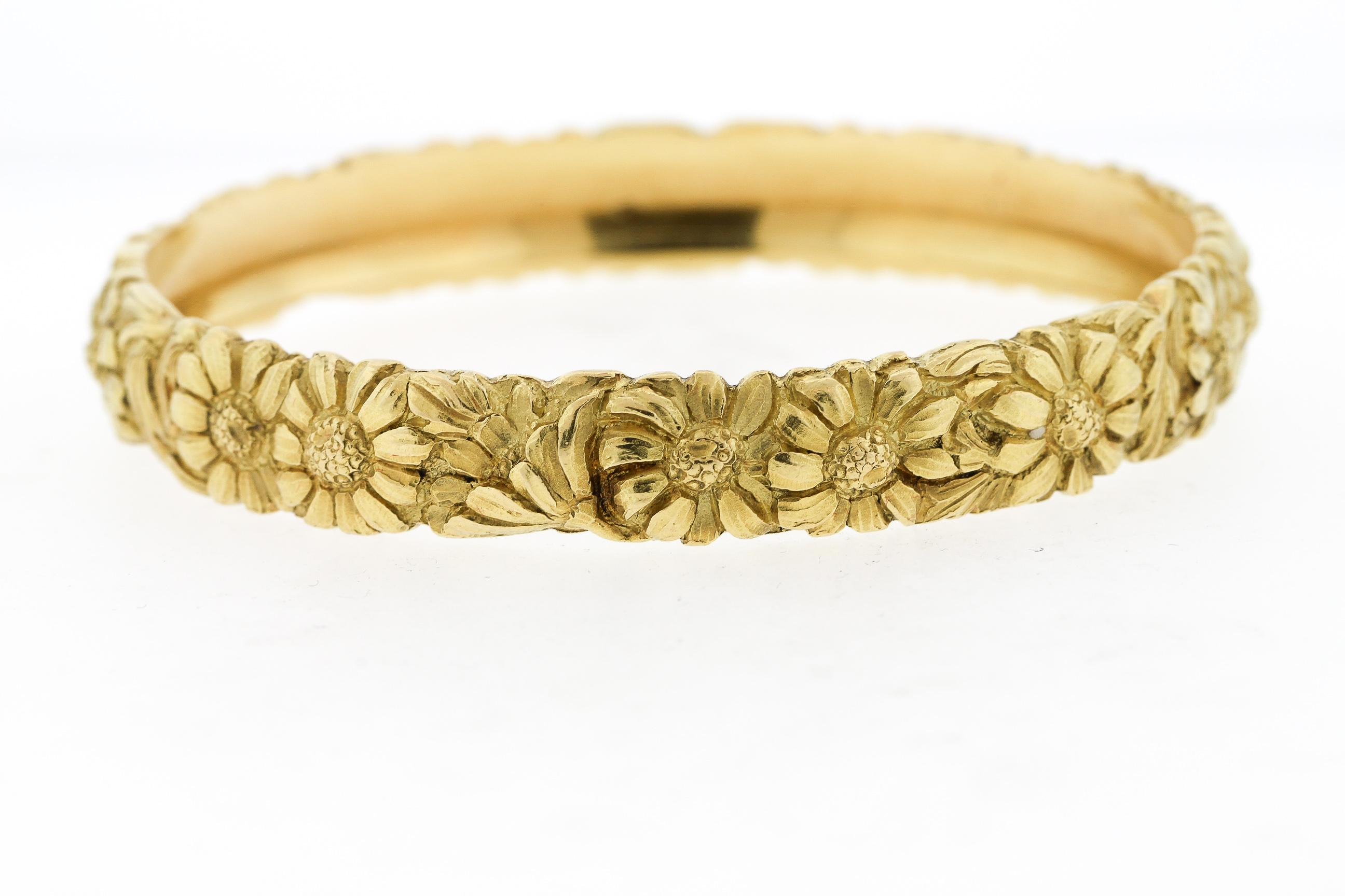 180cd11c8 Antique French Engraved Solid 18 Karat Yellow Gold Bangle with Daisies For  Sale at 1stdibs