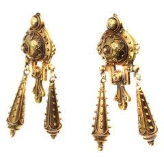 Antique French Etruscan Revival 18 Karat Gold Ear Pendants