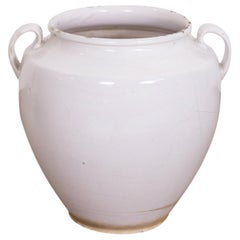 Antique French Faience Confit Pot or Egg Pot with White Glaze