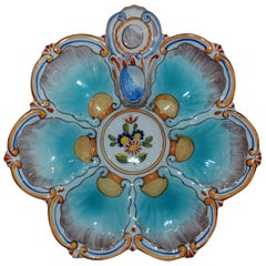 Antique French Faience Oyster Plate, signed St. Clement Co., circa 1890-1900