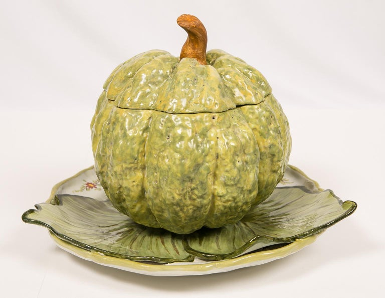 Rococo Antique French Faience Tureen Modeled as a Pumpkin 18th Century For Sale