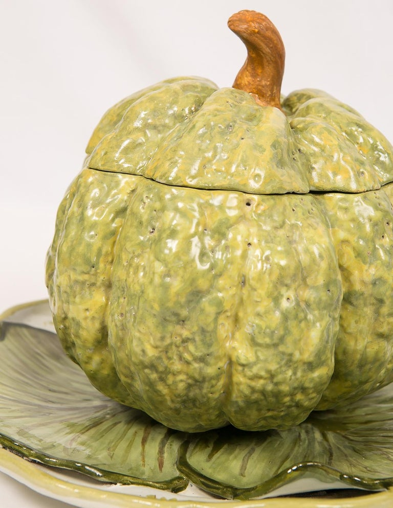 Antique French Faience Tureen Modeled as a Pumpkin 18th Century For Sale 1