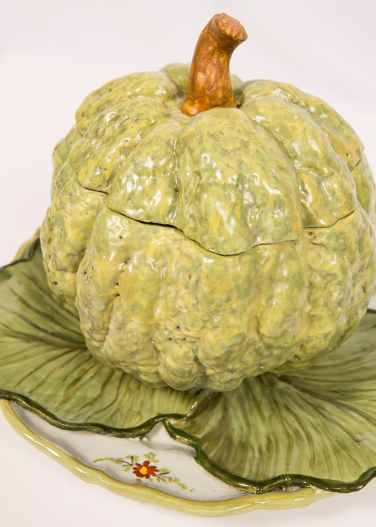 Antique French Faience Tureen Modeled as a Pumpkin 18th Century For Sale 2