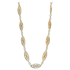 Antique French Fancy 18 Karat Gold Link Chain Necklace