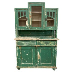 Antique French Farm-Style Cabinet with Hutch