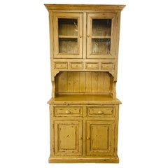 Antique French Farm Style Cabinet with Hutch in Off-White/ Beige
