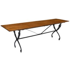 Antique French Farm Table with Iron Base