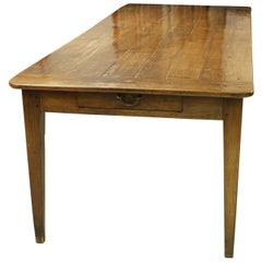 Antique French Farmhouse Table with Bred Slide and Drawer