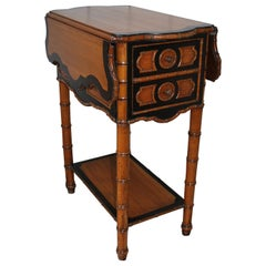 Antique French Faux Bamboo satin birch Side Table / pembroke work table