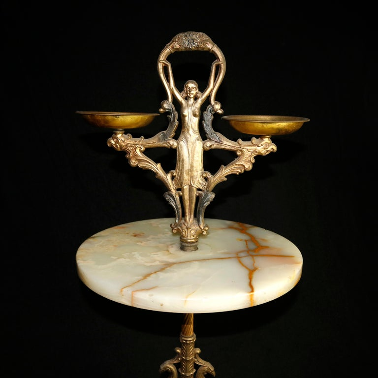 Cast Antique French Figural Art Nouveau Onyx and Bronze Smoking Stand, circa 1910 For Sale
