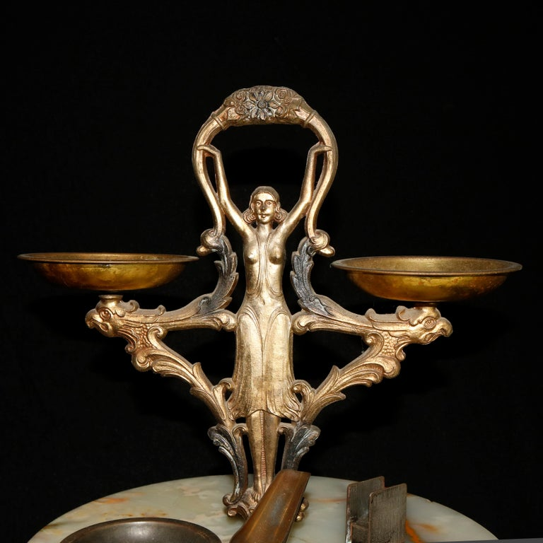 Antique French Figural Art Nouveau Onyx and Bronze Smoking Stand, circa 1910 For Sale 4