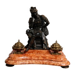Antique French Figural Bronze & Marble Statuary Inkwell with Mercury, circa 1880