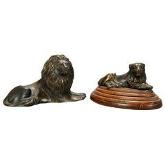 Antique French Figural Bronze Recumbent Lion Sculptures, circa 1890