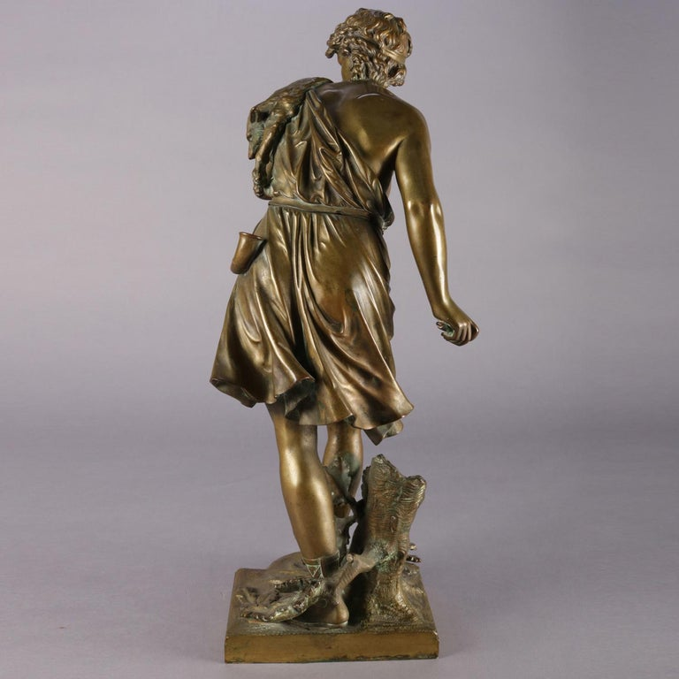Antique French Figural Cast Bronze Diana Portrait Sculpture Signed Bouret In Good Condition For Sale In Big Flats, NY