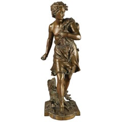 Antique French Figural Cast Bronze Diana Portrait Sculpture Signed Bouret
