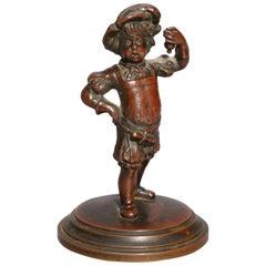 Antique French Figural Child Bronze Portrait Sculpture of Boy, circa 1890